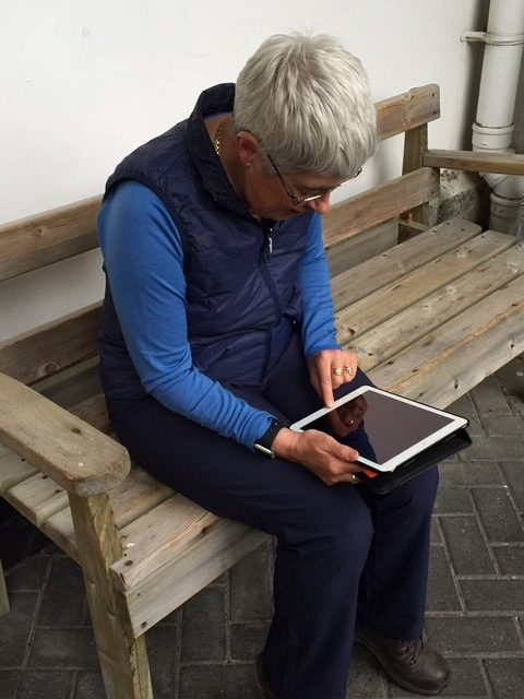 Image of Christine Dodds using an iPad