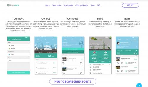 Screenshot of Greengame app website